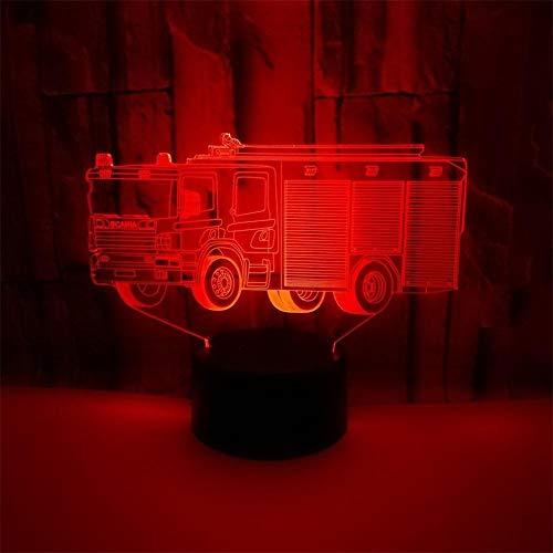 3D Feuerwehr Auto Optical Illusions LED Lampen 7 Farbwechsel Berühren Tabelle Schreibtisch-Nacht Licht für Kinder Schlafzimmer Geburtstagsgeschenke