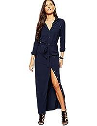YAANCUN Damen Neue Elegant Lange Ärmel V-Ausschnitt Hemd-Kleid Knopf-Entwurf 447d455384