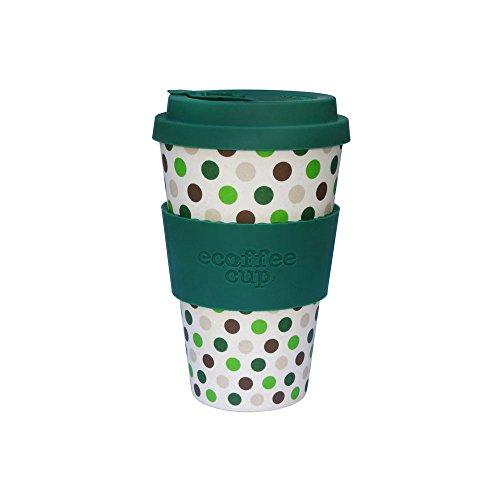 BIOZOYG Tasse à café Eco Durable I Tasse Thermo avec Couverture et Manchon en Silicone, Lavable et sans BPA I Café coloré Bambou a emporter Green Polka 400 ML