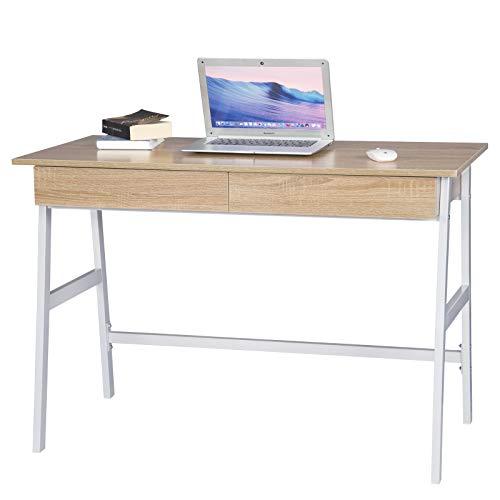Woltu Mesa Oficina Escritorio 2 Cajones Madera 110x55x75cm