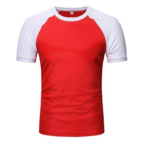 MOIKA Herren T Shirt New Männer Casual Patchwork O Hals Pullover Kurze T-Shirt Top Bluse(M,Rot)