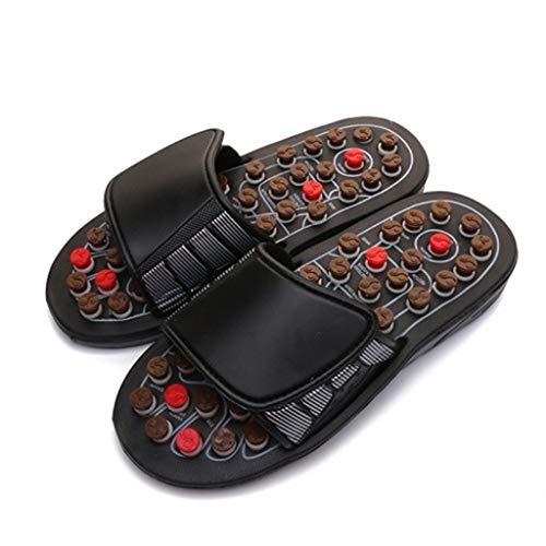 Junjie Frauen Männer Fußmassage Therapie Aktivierung Pflege Einstellbare Sandale Hausschuhe Schuhe Braun, Rot, Weiß (Große Pflege Schuhe Womens)