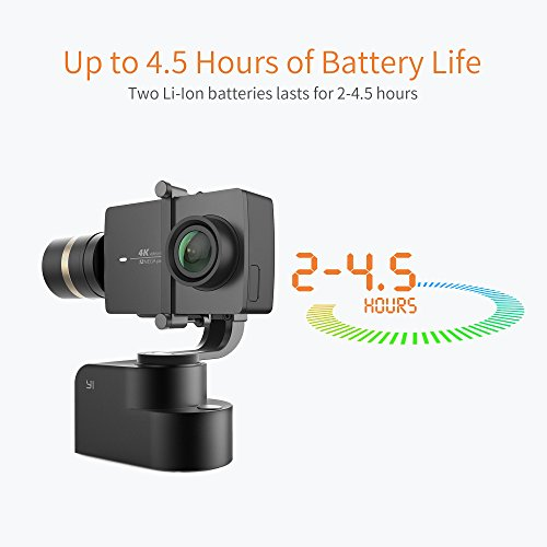 YI 4k action camera and 3-Axis Gimbal Handheld Stabilizer PTZ Camera Mount Bundled with Selfie Stick, Bluetooth Remote and Travel Case