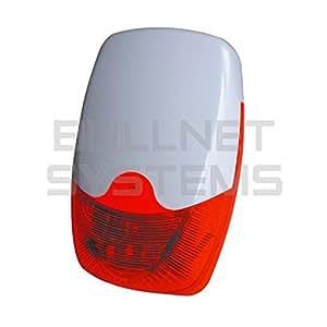 Bullnet Systems - Grosse Sirène Extérieure Filaire Flash Rouge pour Alarme de Maison