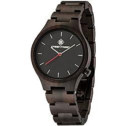 Wooden Watch Men's Size In Black Sandalwood Wristwatches In Japan Quartz Movement Analogue Display 40mm Diameter