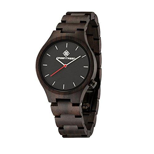 armbanduhr herren herrenuhr In der schwarzen Sandelholz-Quarz-Uhr mit 18mm Bändern Breite und 40mm Fall-Durchmesser für Verkauf