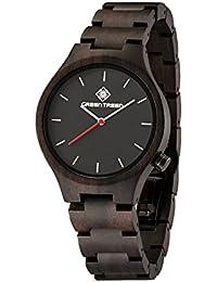 greentreen diseño de madera reloj de pulsera unisex tamaño madera de relojes Navidad regalo