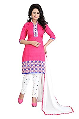 RAMDEV Women's Crape Cotton Printed Unstiched suit - Pink Design : Printed | Unstiched