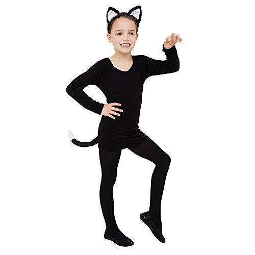 6Katze Set Ohren und Schwanz, unisex-child, schwarz, one size (Kitty Ohren Und Schwanz)