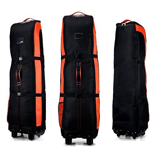 PGM Golf bolsa de viaje, con ruedas---- doble de la cubierta, grueso, impermeable, nailon), con base, negro/naranja
