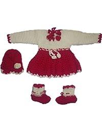 Cutiepie Collection Handmade Woollen Sweater Cum Frock Set (0-6 Month Baby)