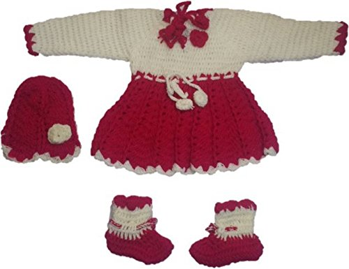 Cutiepie Collection Baby Boy's and Baby Girl's Handmade Woollen Sweater /Frock Set (Multicolour, 0-6 Months)