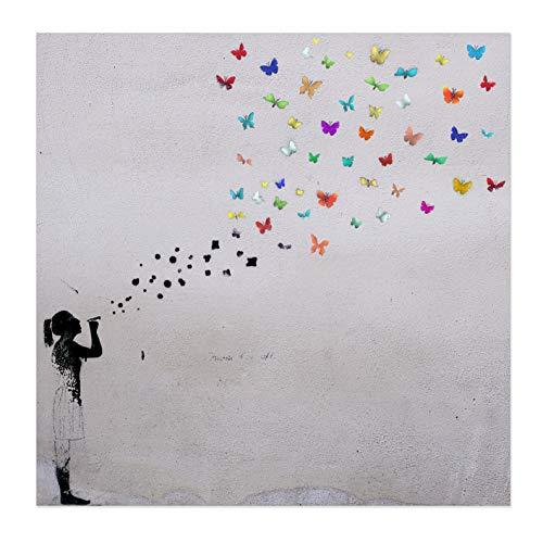 Bild auf Leinwand Banksy Graffiti Kunstdruck Street Art - Schmetterling Bubble (50x50 cm)