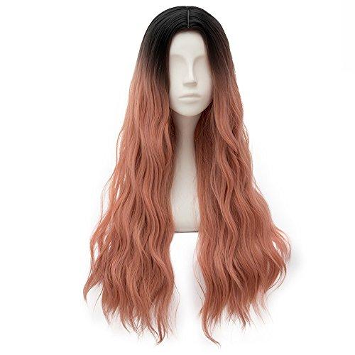 (Estyle Fashion Lange 31 inches(78CM) Lockig Hitzebeständig Lolita Party Dame Cosplay Wig Perücke + Perücke-Kappe (Schwarz + Ash Pink))