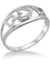 Miore MPS001D 925 Sterling Silver Women's Heart Diamond Ring
