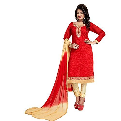 Red Color Chanderi Straight Salwar Kameez