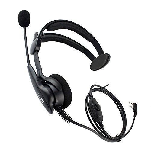 coodio Kenwood Funkgeräte Ohrhörer 2 Pin Über-Ohr Security Headset [Swivel Boom Mikrofon] [Noise Cancelling] Kopfhörer Mikrofon Für Kenwood Baofeng Wouxun PMR -