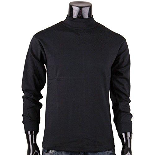 BCPOLO Herren rollkragen schwarzen T-Shirt Baumwolle Stehkragen T-Shirt L (Mock Neck Rollkragen-shirt)