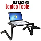 #8: PETRICE Laptop stand For Bed and Sofa, Desk Portable Adjustable Laptop Table Stand Up/Sitting With Mouse Pad, Ergonomics Design Aluminum Suitable For Reading Studying