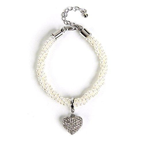 ALMBOCK Dirndl Armband Damen | Trachten Perlenarmband | Perlenarmband mit Herzanhänger | Armband Tracht - Trachtenarmband Damen silber