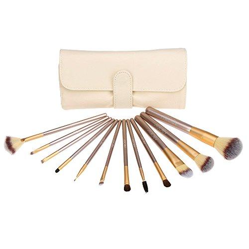 Abody 12Pcs Pinceaux de Maquillage Professionnels Kit de Brosses Cosmétique avec un Sac Brosse pour Fond de Teint,Poudre Sourcil,Fard à Paupière
