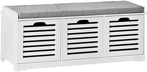 SoBuy Banco de Almacenamiento con Acolchados Cojines y 3 Cubos, Entrada Zapato Gabinete Dresser Cómodo...