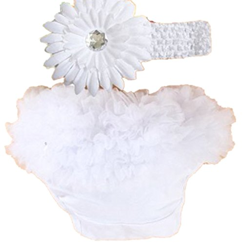 Rüschen-Höschen Baby-Unterwäsche Pumphose Windel Decken(Weiss, 3-24 Monate)