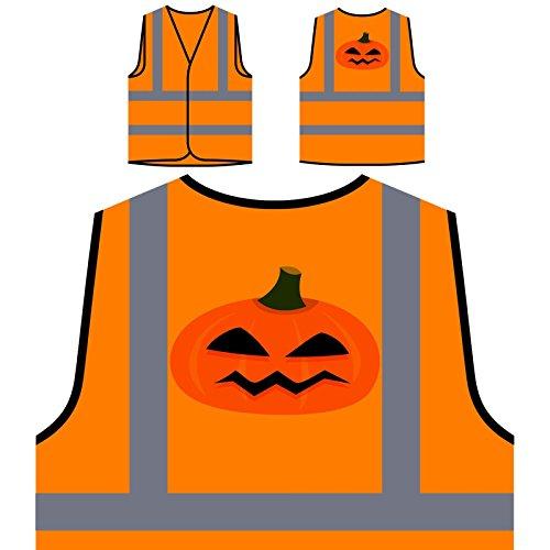 Halloween Kürbis Kunst Personalisierte High Visibility Orange Sicherheitsjacke Weste q362vo