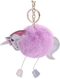 Purple Taro : Keyring Pom Pom Ball Keychain Plush Fur Soft Fluffy Charm Dangle Cute Keychain Handbag Charm Gift