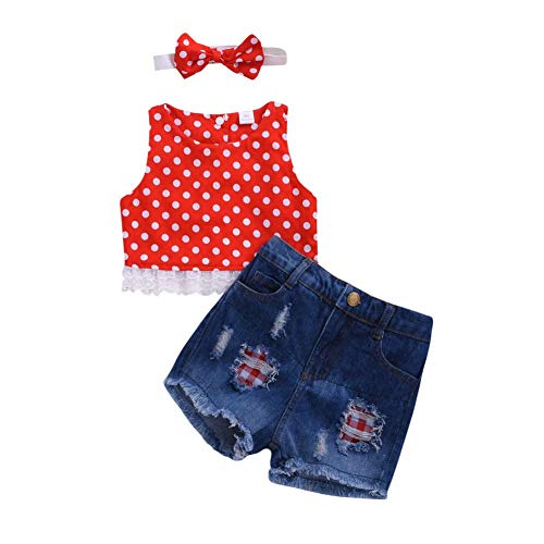 Gyratedream Mädchen Sommer Bekleidung 0-4 Jahre Baby Rot Weste Polka Dot Spitze Ärmelloses T-Shirt Tops + Jeans Shorts + Stirnband 3Pcs Kleidung Set (Baby Mädchen Polka Dot Stirnband)