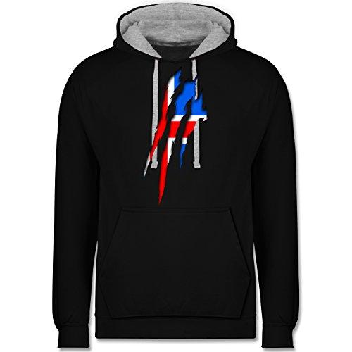 Länder - Island Krallenspuren - Kontrast Hoodie Schwarz/Grau Meliert