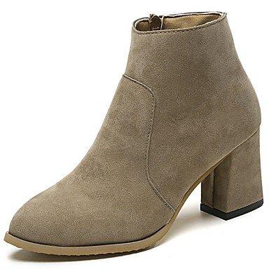 Rtry Femmes Chaussures Flocage Microfibre Synthétique Pu Pu Similicuir Hiver Confort Mode Bottes Bottes Chunky Talon Toe Mi-mollet Bottes Us6.5-7 / Eu37 / Uk4.5-5 / Cn37