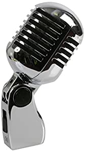 Pulse PLS00093 Retro Style Chrome Microphone - Silver/Chrome