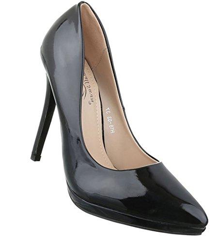 bc25ed72071e Damen Pumps Schuhe High Heels Stöckelschuhe Stiletto Plateau Schwarz Rot 36  37 38 39 40 Schwarz