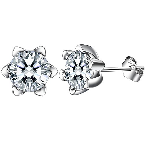F.ZENI Ohrringe Damen Silber Ohrstecker 925 Sterling Silber Funkeln Kubisches Zirkonia Liebeherz Ohrringe für Damen -