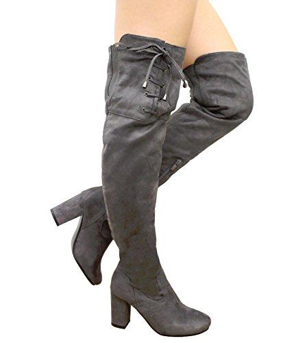 Saute Styles , Bottes cuissardes femme Grey Suede Block Heel