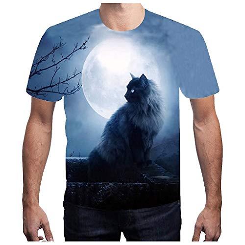 SIRIGOGO Heiß! Mode Herren Sommer 3D T-Shirt Sport 3D gedruckte Bluse Casual Kurzarm Top beängstigend Cat Moon Muster T, Polyester, S ~ 3XL (Beängstigend T Shirt)