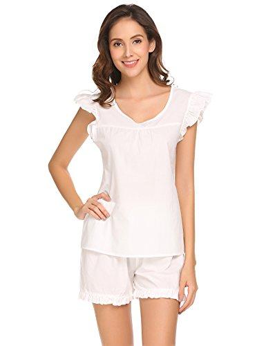 Damen Süße Kurz Pyjama Set Shorty 2-tlg. Baumwolle Schlafanzug Kurzarm Shirt & Shorts Sleepwear mit Ruffle Sleeve Weiß, Farbe : Weiß, Größe : M/EU 38 40 (Nachthemd Rüschen Baumwolle)