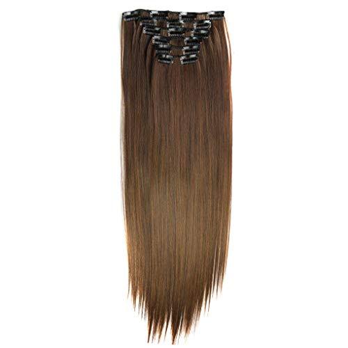 Dorical 6 Pcs Clip In Extensions Echthaar Natürlich Blond 100% Remy Echthaar Haarverlängerung Haarteil für Damen/Günstig Haarverlängerung