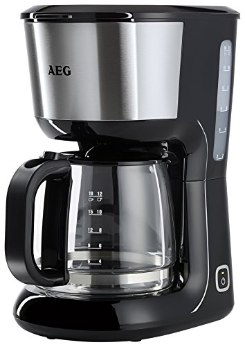 AEG PerfectMorning Filter-Kaffeemaschine KF3700 (1,5 l Aroma-Glaskanne, Antitropf-Ventil, 40 Min. Warmhaltefunktion, antihaftbeschichteter Warmhalteplatte, Abschaltautomatik, BPA-frei, 1080 Watt) Schwarz/Edelstahl (4 Kaffee Korb Filter Tasse)