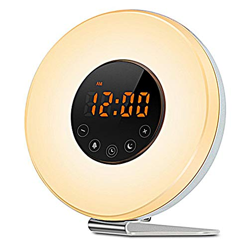 PANGOIE,Despertara Despertador Luces 7 Luces LED Colores Radio 6 Sonidos Wake Up Light