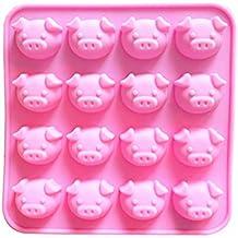 Sencillo Vida 3D Pig Moldes de Silicona para Repostería - Molde De Silicona para Magdalenas Muffins
