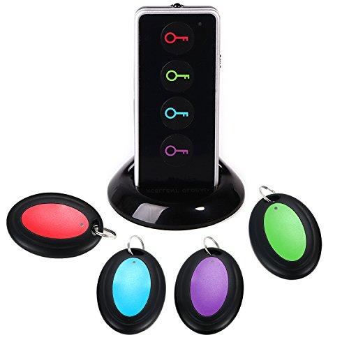 Schlüsselfinder, ATKKE RF kabelloser Sachenfinder Sender mit LED Taschenlampe und Base Support, Fernbedienung mit 4 Empfängern - Pet, Cell, Wireless RF Remote Item, Wallet Locator HG08 -