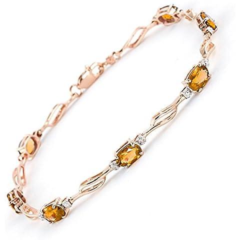 QP Jewellers & citrino Natural Diamond-Bracciale in oro rosa 9 ct, a taglio ovale, 4279R 3,38ct