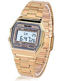 Reloj Electrónico 3 Colores Reloj Digital LED Correa de Acero Inoxidable Esfera Rectangular(Oro)