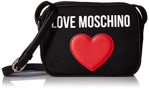 Love Moschino Borsa Canvas E Pebble PU, bolso bandolera para Mujer, Negro (Nero), 7x15x20 centimeters (W x H x L)