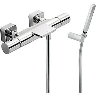 Bañera‑ducha LOFT termostática con cascada. (Ducha de mano anticalcárea (034.639.01) con soporte orientable y flexo SATIN (91.34.609)).