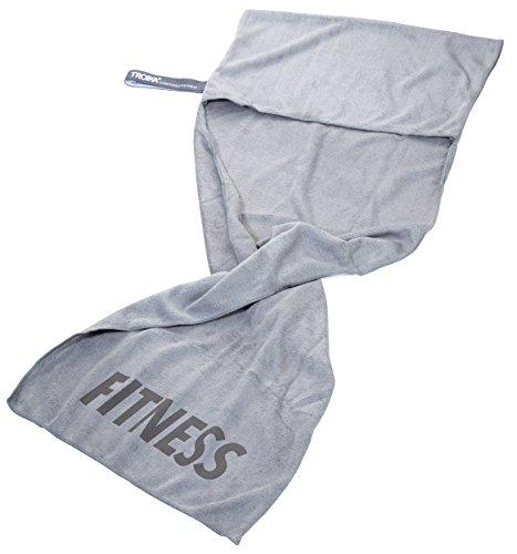 TROIKA Handtuch SCHWITZABLEITER FITNESS - TWL03/GY - Mikrofaser Workout-Handtuch - absorbiernd und schnell trocknend - zur Befestigung am Fitnessgerät - grau - das Original von TROIKA