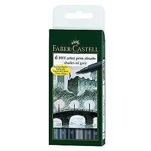 FABER-CASTELL PITT artist pen, 6er Etui - Shades of grey