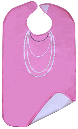 Frenchie Mini Couture Ladies Adult Bib, Pink with White Pearl Print